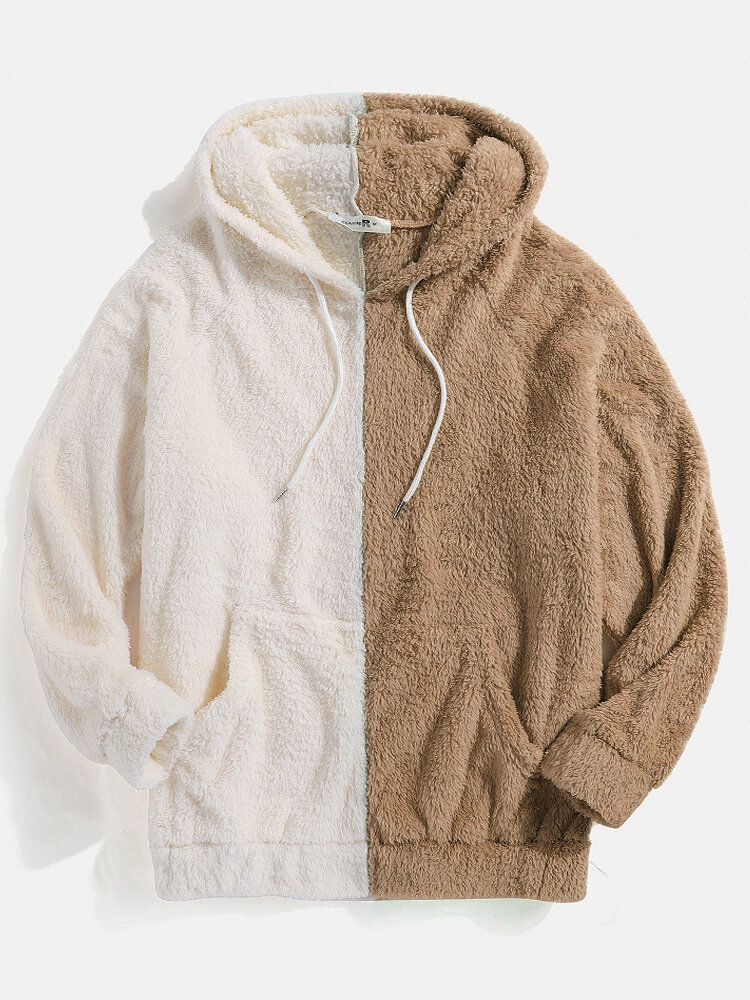 Mens Patchwork Fluffy Pouch Pocket Teddy Hoodie