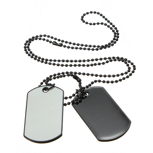 Army Style White Black 2 Dog Tag Necklace