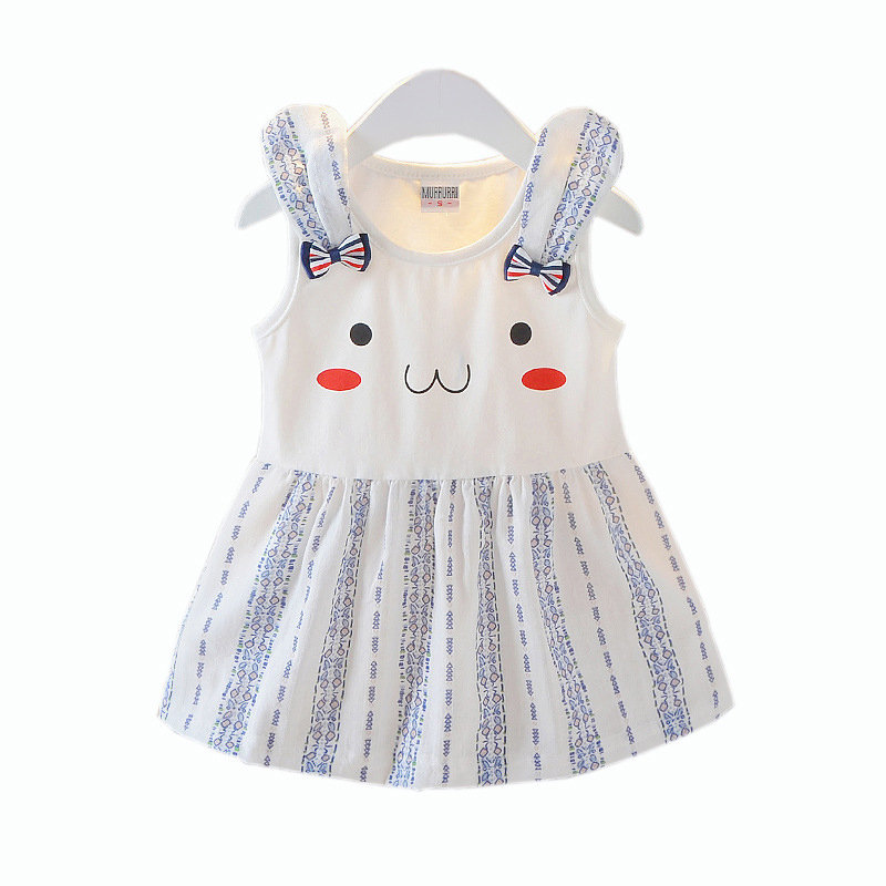 Cute Printed Toddlers Girls Kids Sleeveless Casual Summer Party Dresses