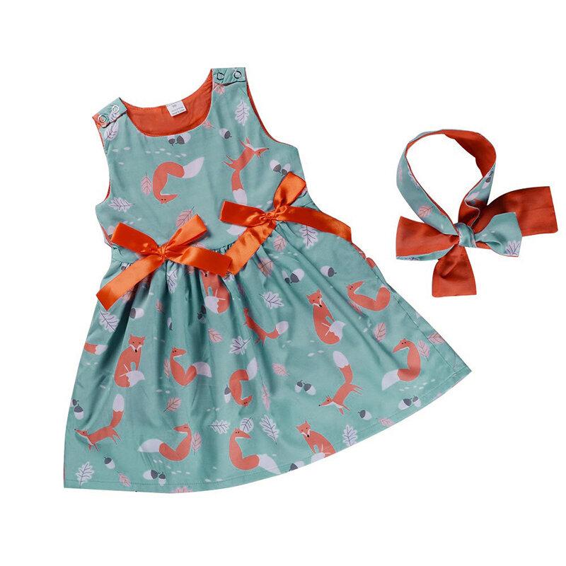 Fox Printed Toddler Girls Kids Sleeveless Bowknot Princess Dress+Headband For 1Y-9Y