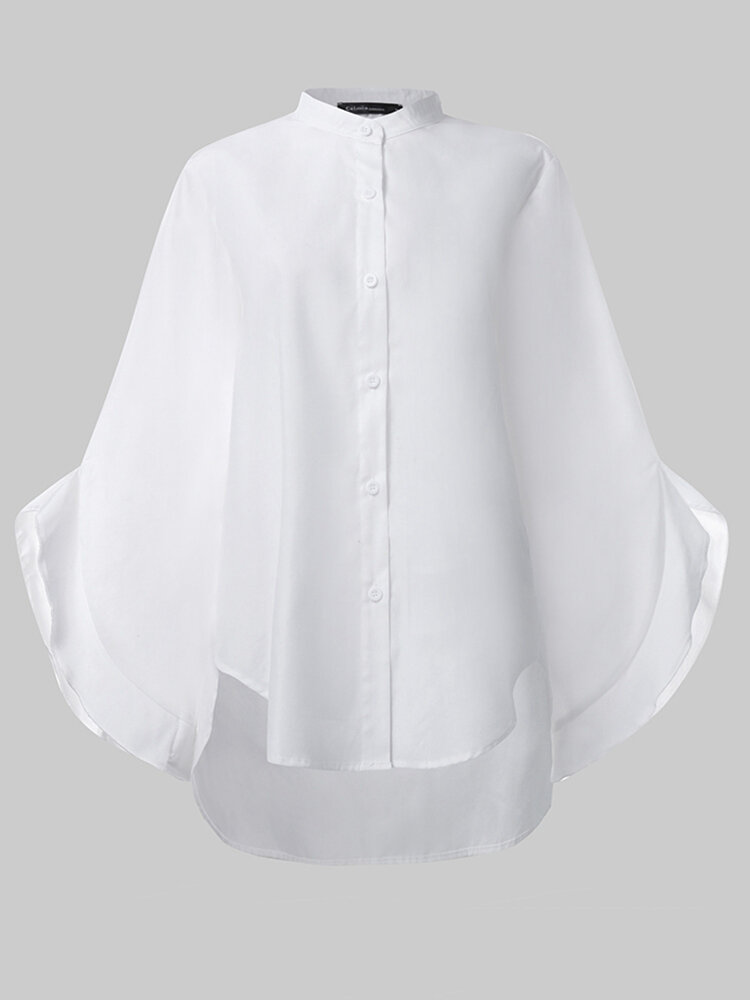 Women Solid Color Stand Collar Button Long Sleeve Casual Blouse