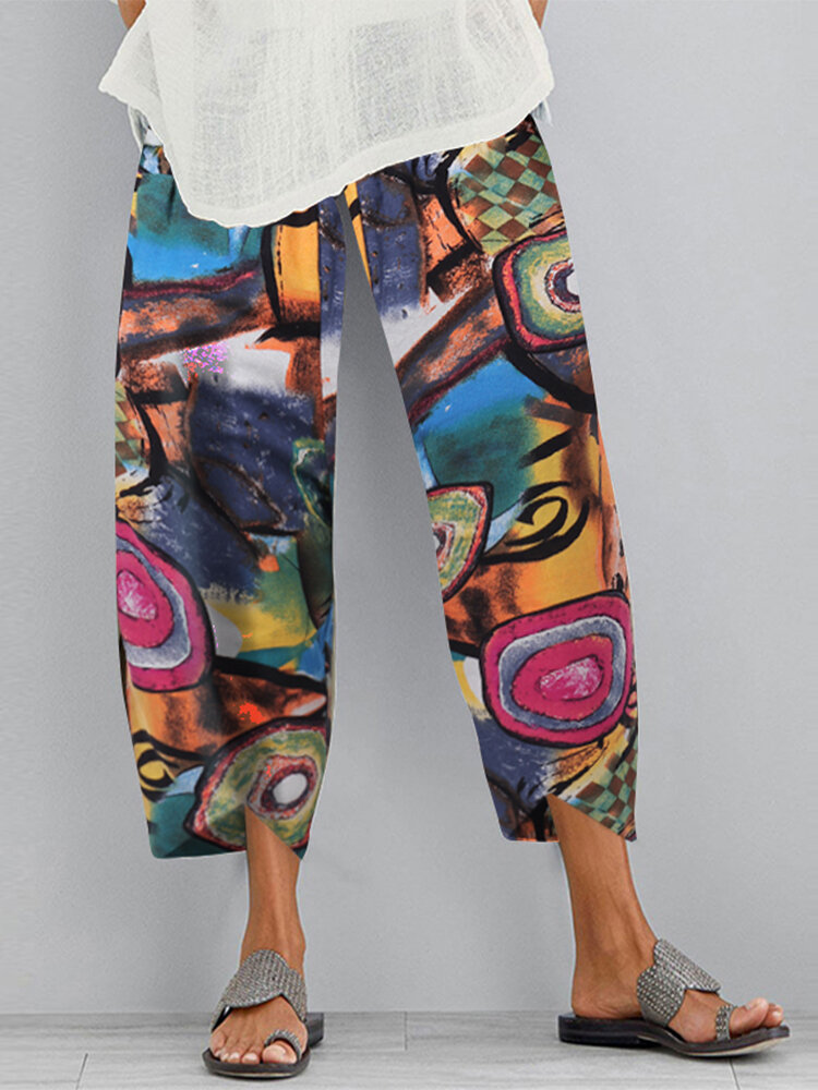 Graffiti Printed Elastic Waist Casual Plus Size Pants for Women