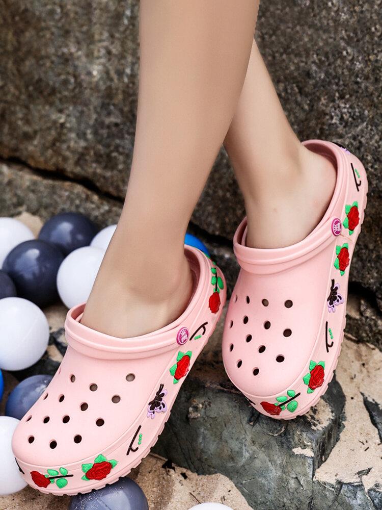 SOCOFY Women Summer Water Shoes Light Weight Garden Footwear Flower Clogs Height Increasing Beach Sandals Two Ways Comfy Mules