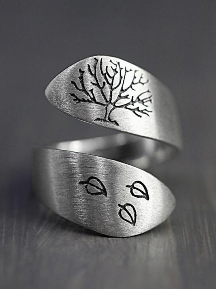 Vintage Adjustable Carved Leaf Tree Of Life Women Open Ring Jewelry Gift