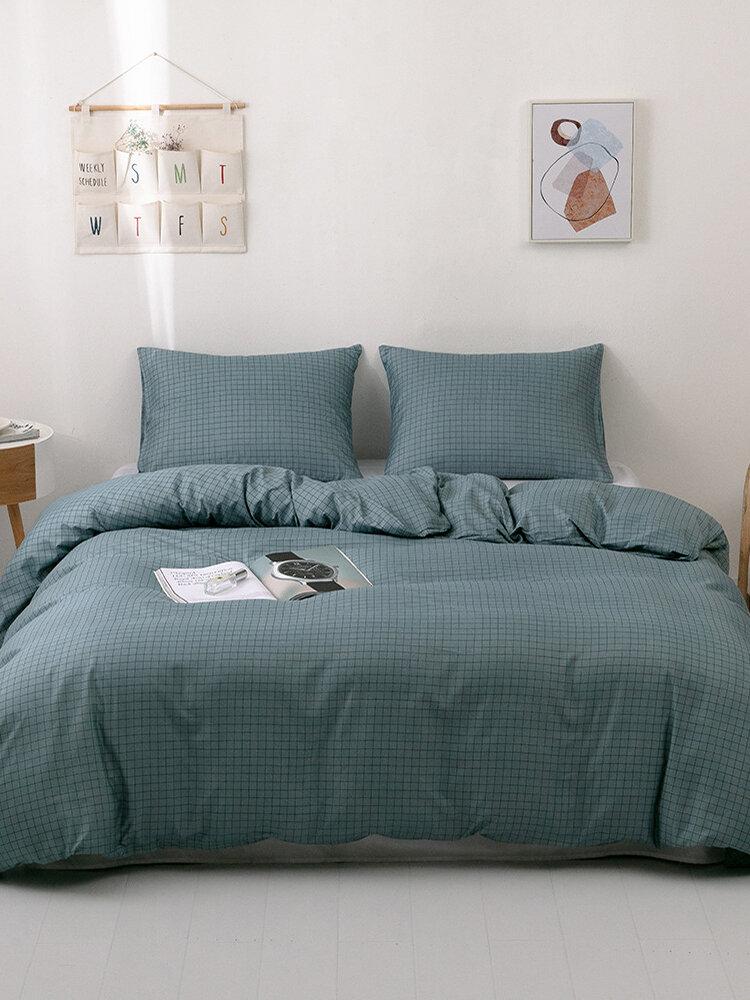 2/3Pcs Plaid Pattern Bedding Set Comforter Bed Cover Pillowcase Adults Bed Duvet Set Twin King