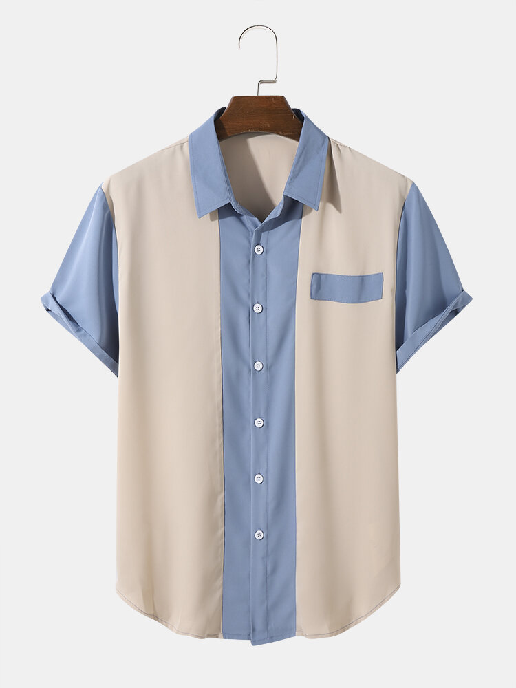 Mens Two Tone Stitching Button Up Preppy Short Sleeve Shirts