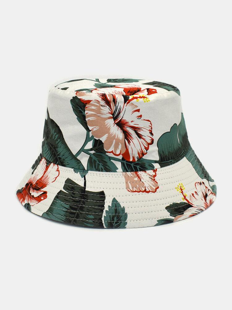 Cappello da pescatore con stampa floreale su due lati unisex in cotone double face Modello