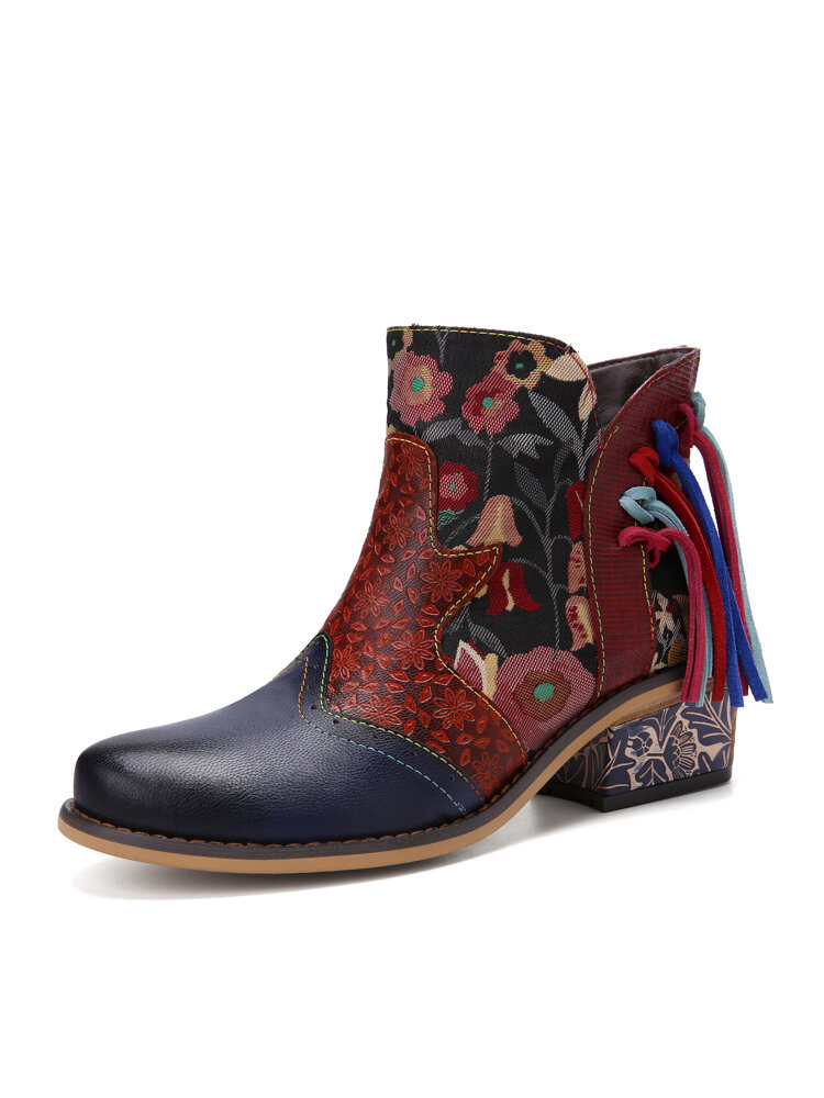 Socofy Retro Exquisite Floral Print Leather Patchwork Tassel Design Side Zipper Chunky Heel Comfy Short Boots