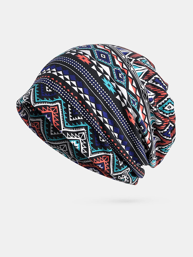 Dual-use Hat Men And Women Cotton Geometric Pattern Custom Wave Cap