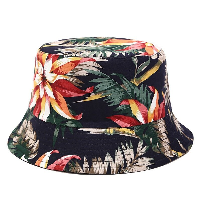 Printed Double-sided Wearable Sun Hat Summer Outdoor Collapsible Bucket Cap