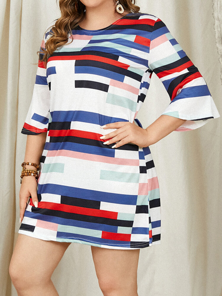 Striped Patched Print Half Bell Sleeve Plus Size Dress