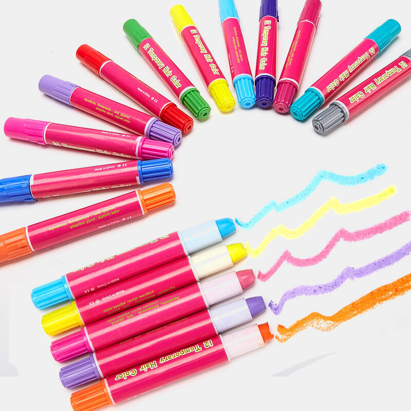 12 Colors Temporary Hair Dye Crayon Set Party Cosplay DIY Styling Tools Disposable Hair Dye Pen