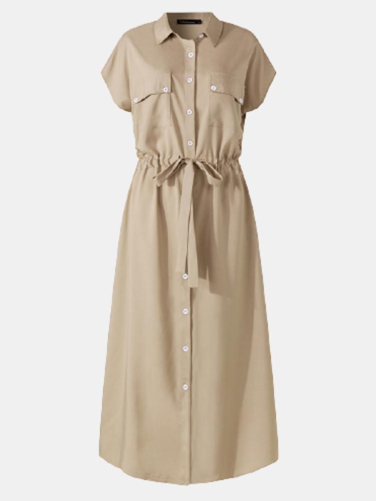 Solid Color Lapel Knotted Plus Size Button Dress for Women