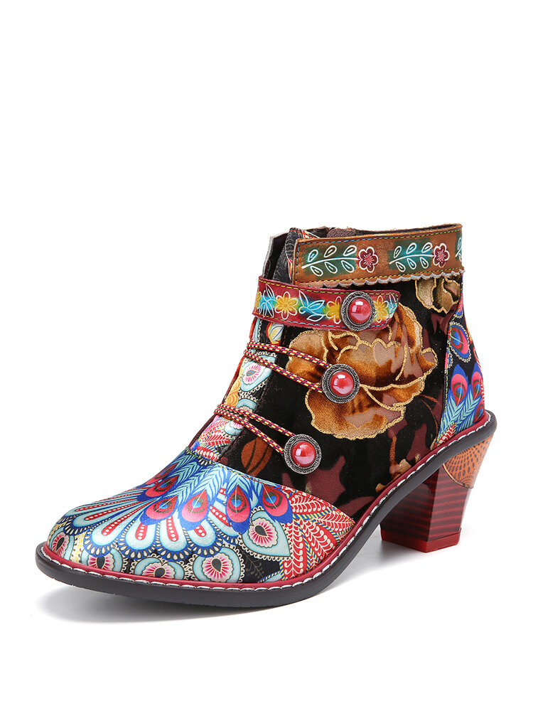 SOCOFY Retro Cloth Floral Leather Splicing Comfy Wearable Casaul Ankle Boots