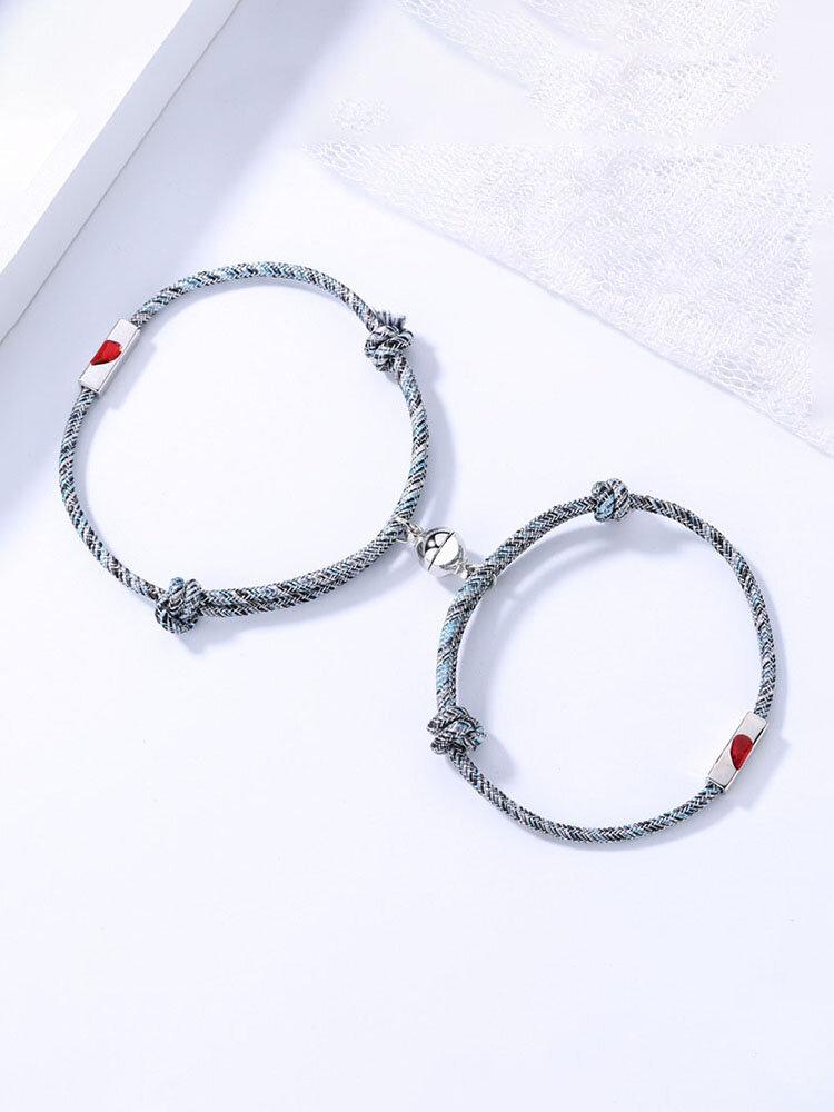 2 Pcs Heart-Shape Couple Bracelets Set Adjustable Round Magnet Bell Braided Rope Bracelets