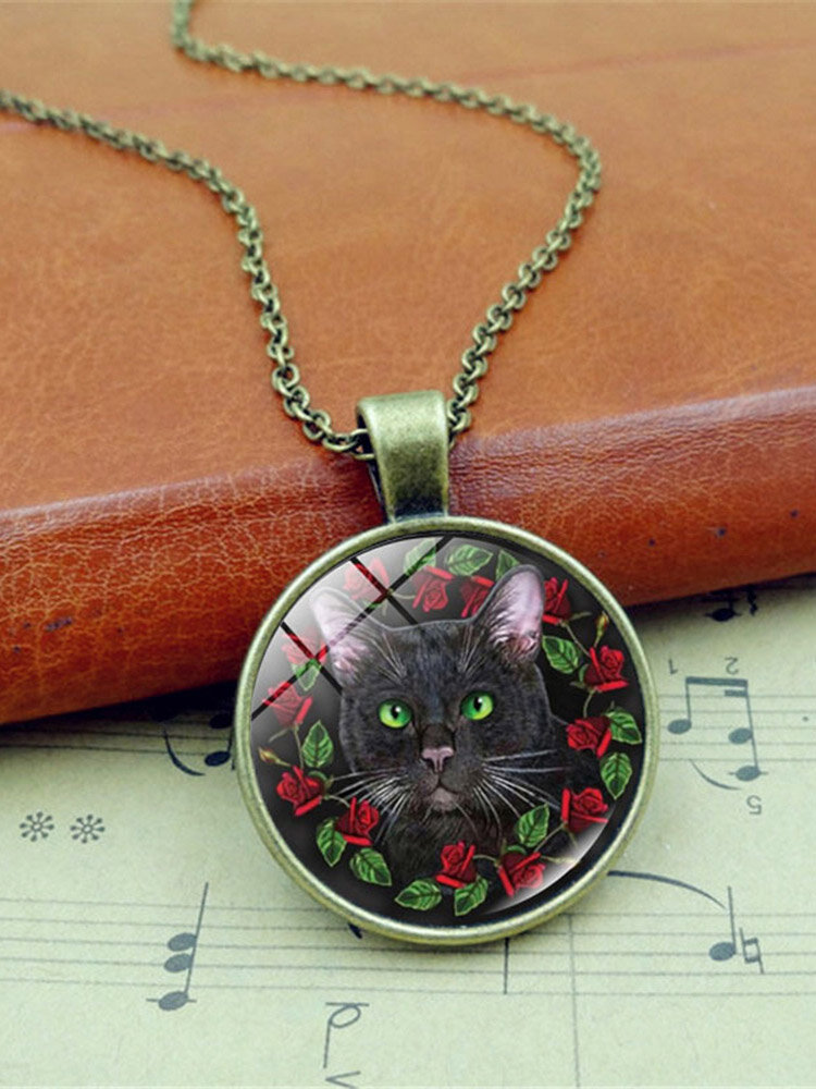 Vintage Glass Printed Women Necklace Black Cat Wreath Pendant Necklace Jewelry Gift