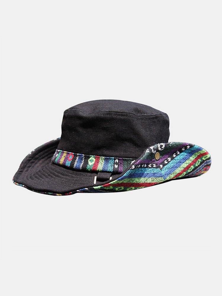 Men Cotton Linen Colorful Stripe Ethnic Pattern Patch Outdoor Sports Sunscreen Bucket Hat
