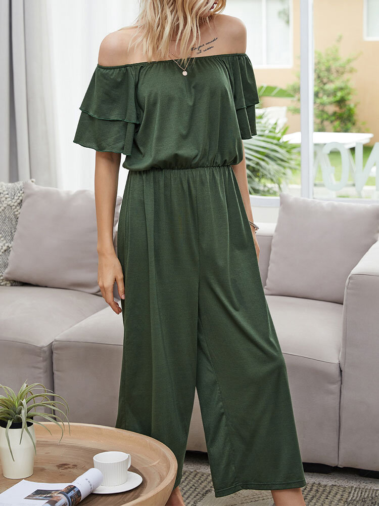 Solid Color Ruffle Short Sleeve Off Shoulder Casual Jumpsuit