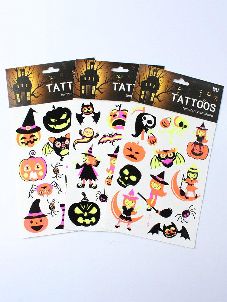 Halloween Decorators Fluorescence Noctilucent Tattoo Stickers Luminous Paste Temporary Tattoos