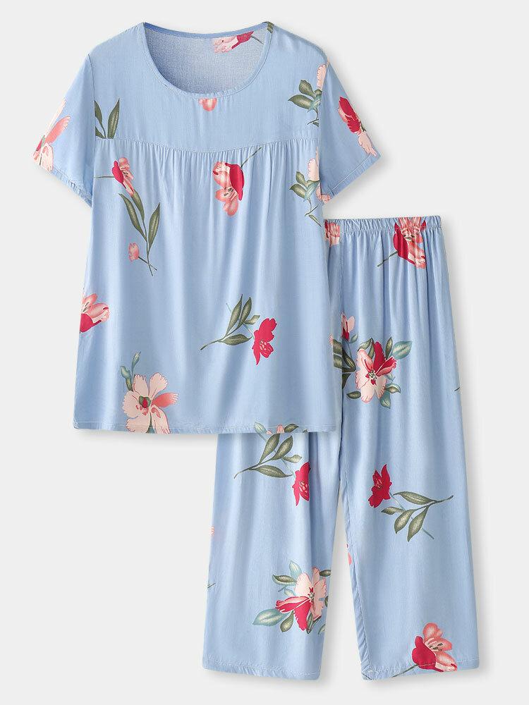 Plus Size Women Floral Print Loose Pleated Home T-Shirt & Pants Pajamas