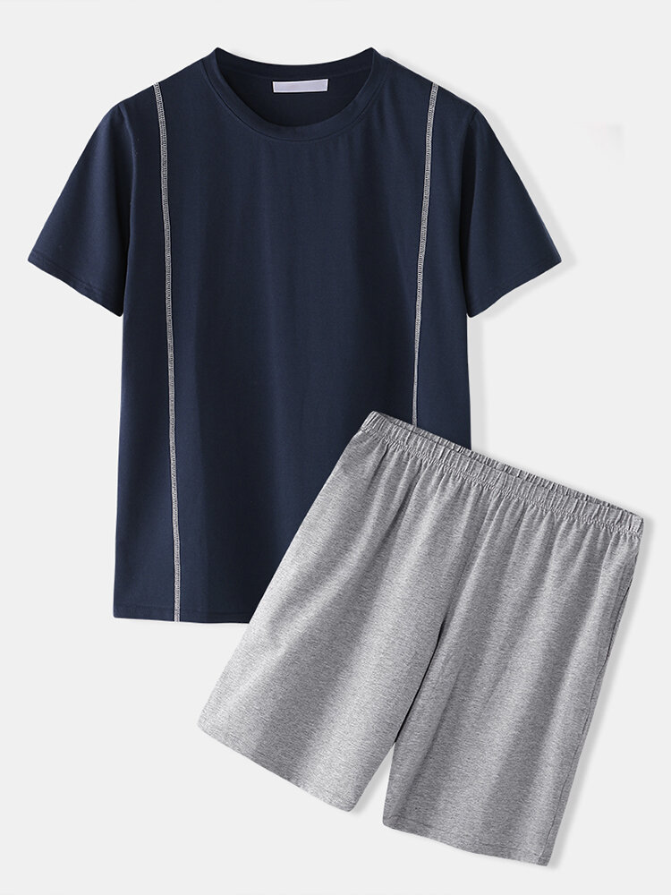 Men Plain Short Sleeve Pajamas Breathable O-Neck Summer Two Pieces Home Lounge Sets
