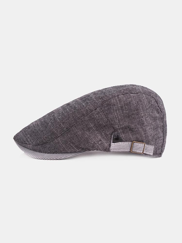 Men's Vintage Cotton Beret Flat Cap Casual Sunshade Newsboy Forward Adjustable Hats