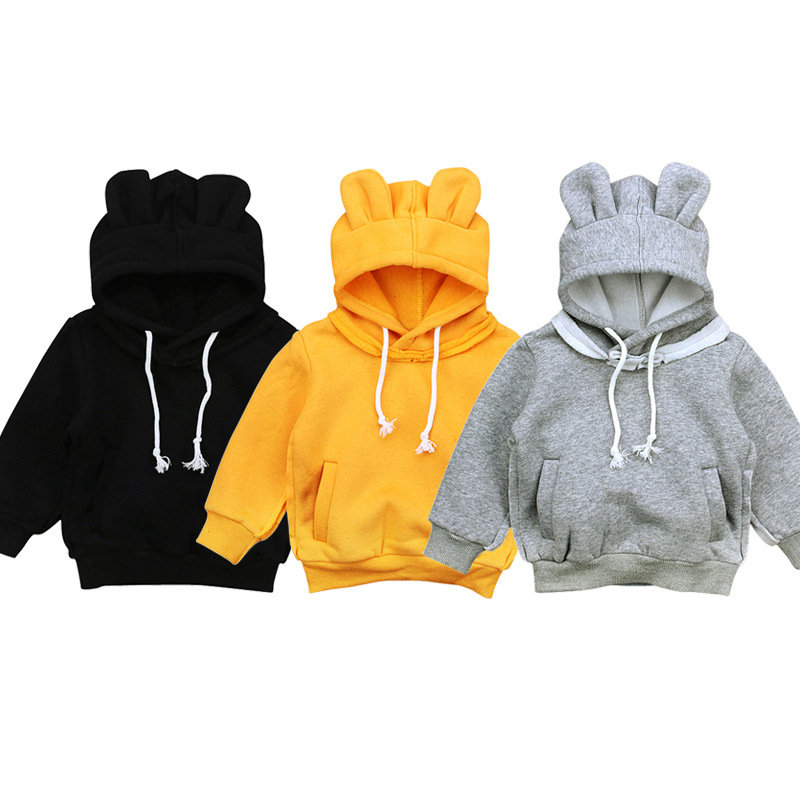 Pure Color Cute Ears Boys Girls Hooded Thick Sweatshirts Tops For 1Y-7Y