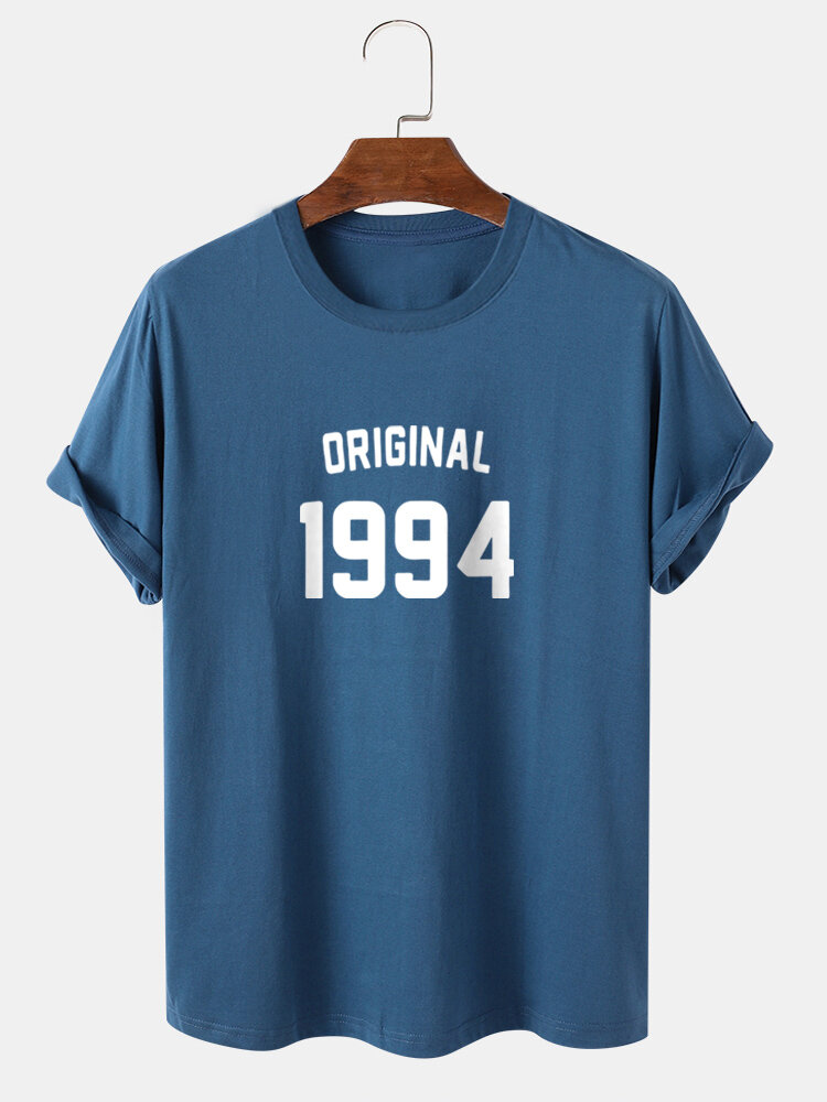 Mens 1994 Letter Print Casual 100% Cotton Short Sleeve T-Shirts