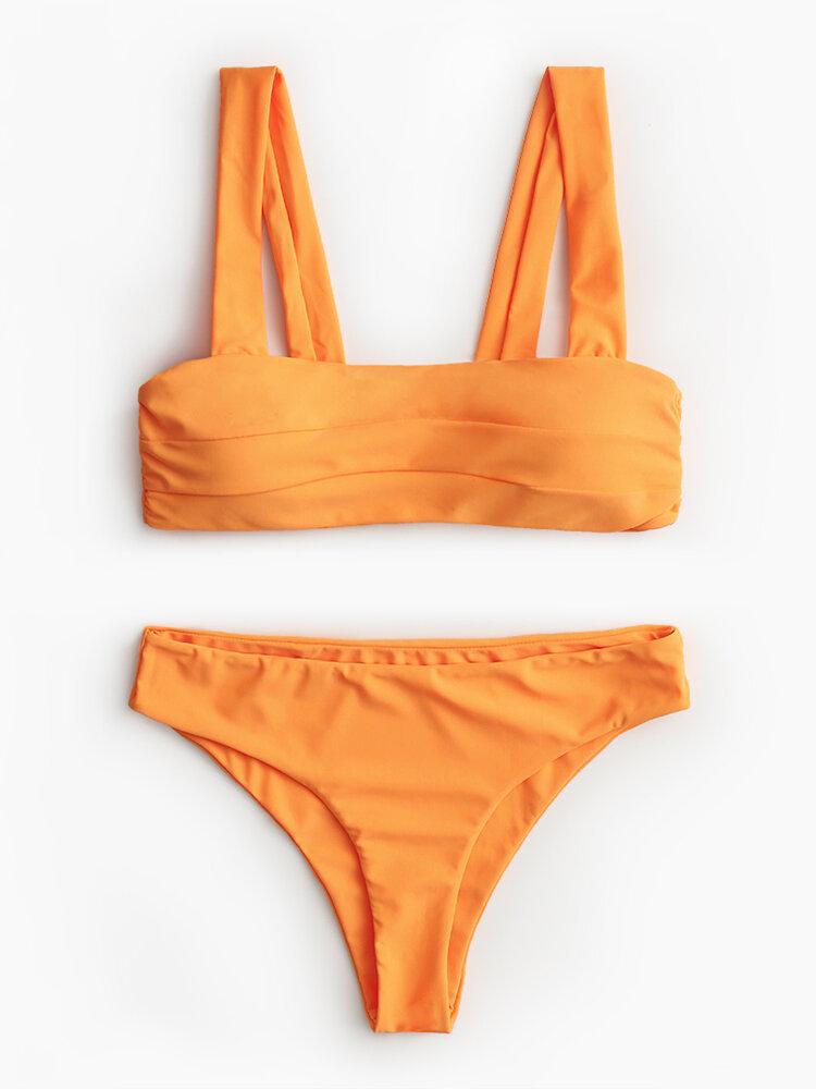 Damen Badeanzug aus reinem Bandeau-Bikini mit hohem Schnitt und breiten Schultergurten
