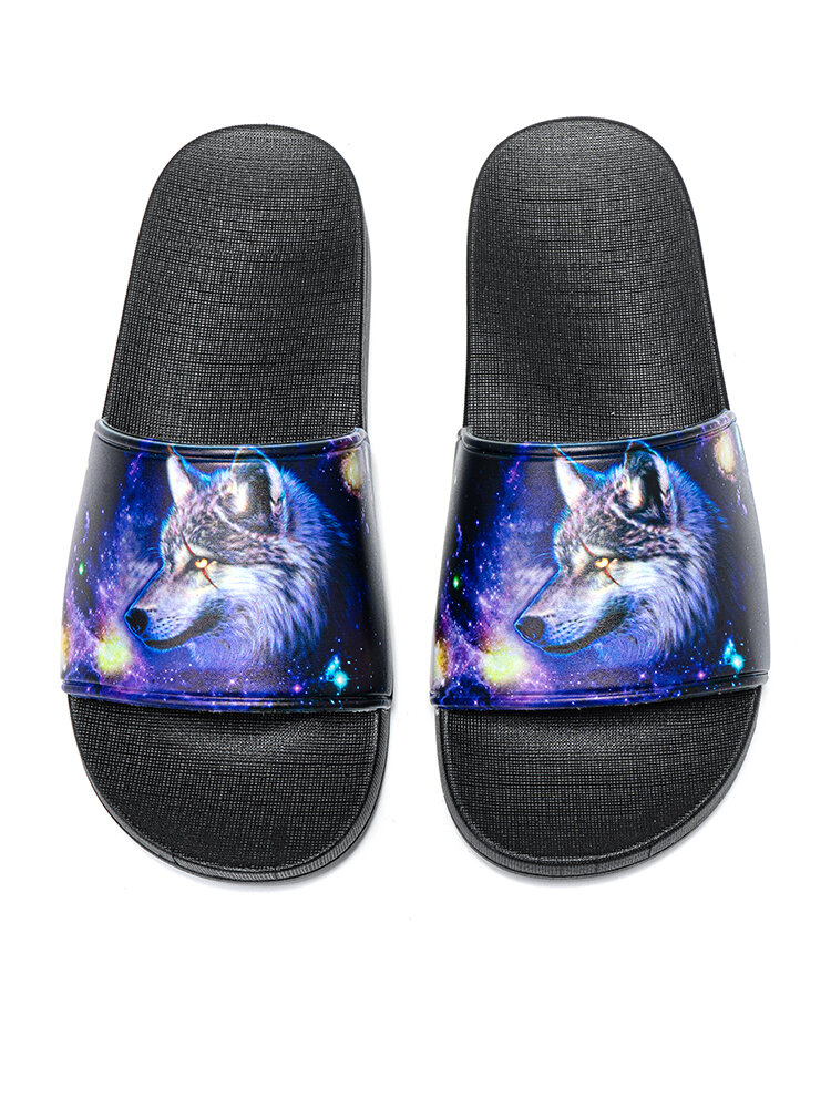 Men Stylish Printing Wolf Pattern Beach Casual Home Slides Slippers