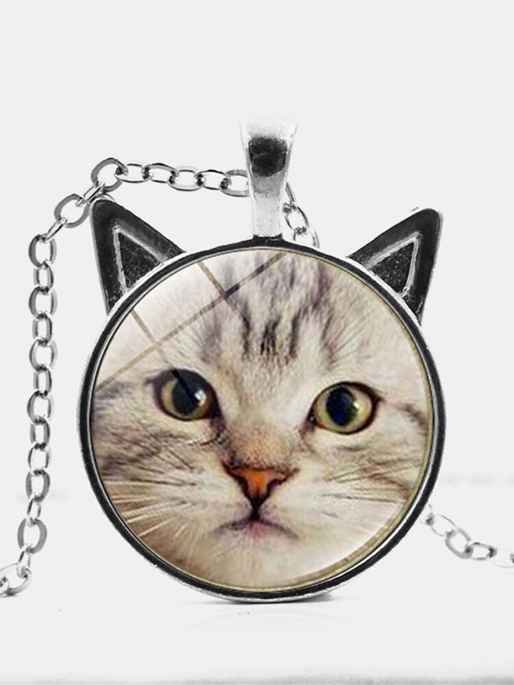 Vintage Printed Cat Face Women Necklace Cute Cat Ear Glass Pendant Sweater Chain