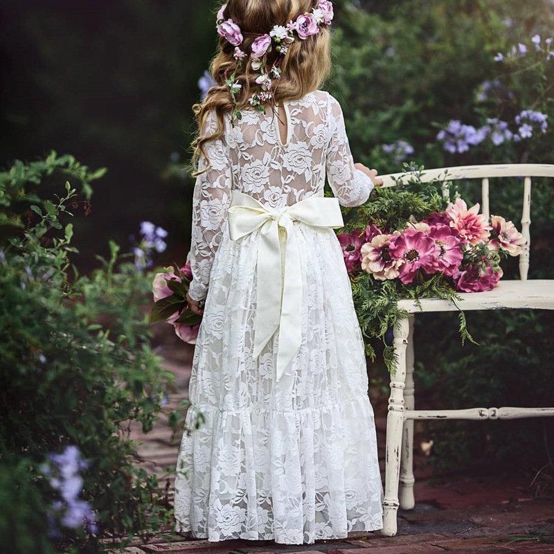 Robe longue en dentelle avec patch en dentelle pour filles de 3 ans à 15 ans