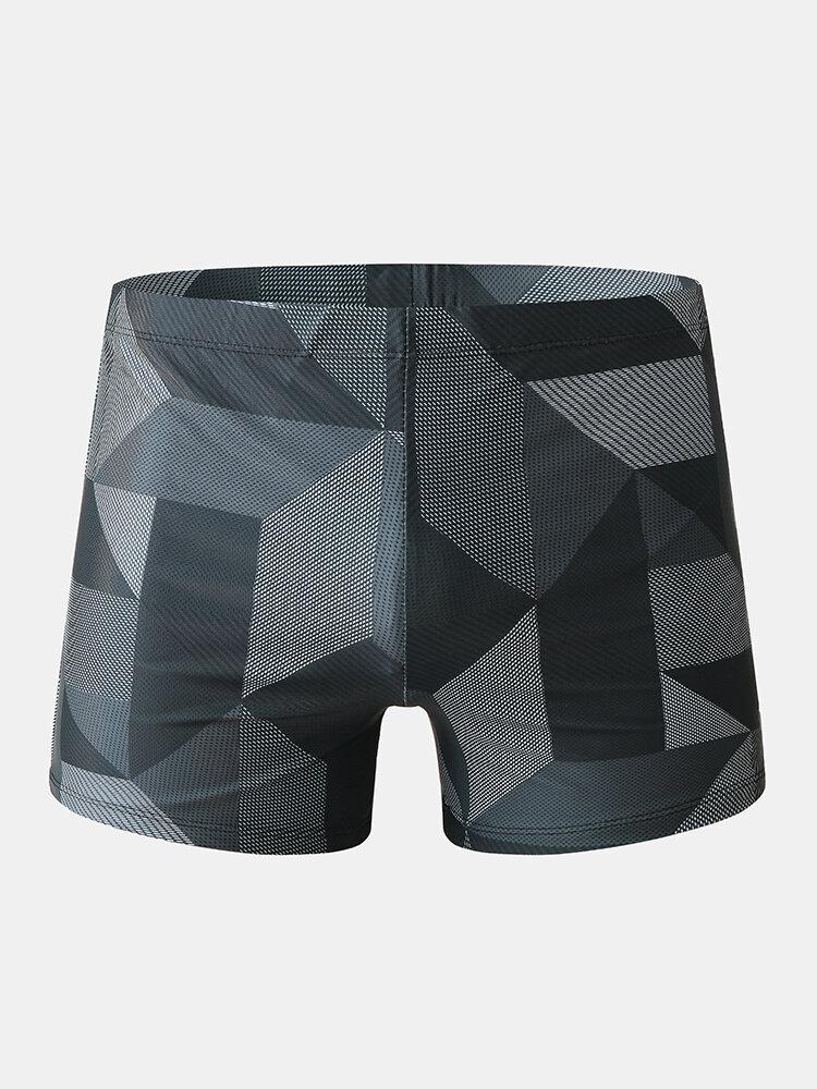 メンズ幾何学プリント速乾性通気性ビーチショーツパッド付き水着