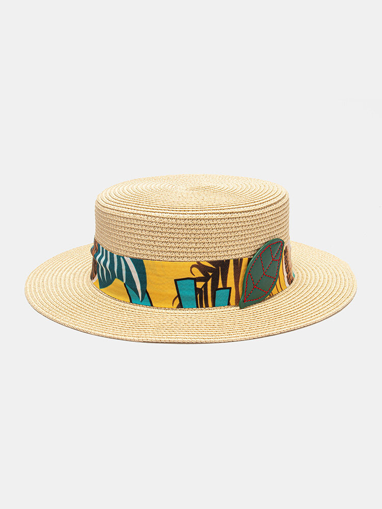 Unisex Floral Simple Fashion Flat Top Beach Holiday Sunshade Straw Hat