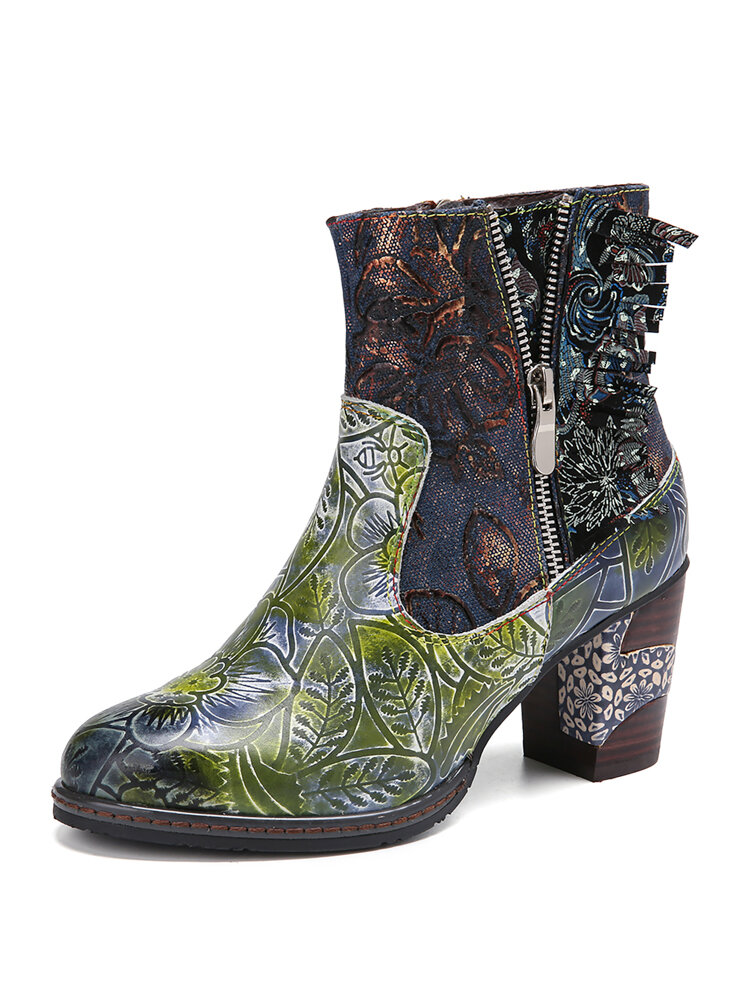 SOCOFY Retro Embroidery Floral Printed Leather Splicing Side Zipper Casaul Chunky Heel Short Boots