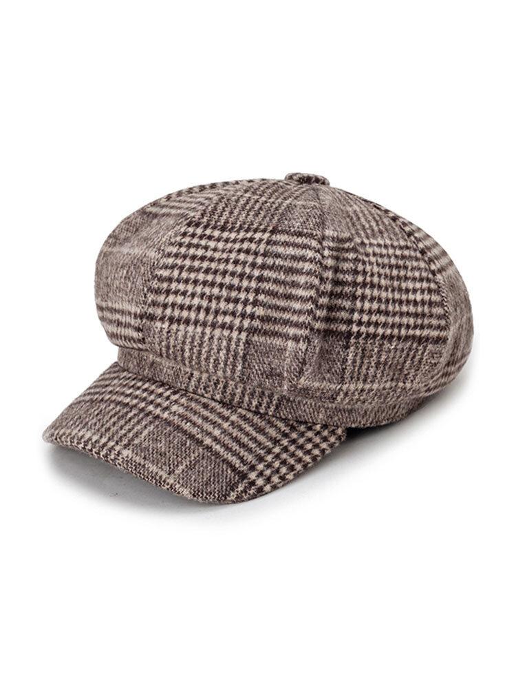 Women Woolen Gird Stripe Octagonal Cap Beret Cap Fashion Casual College Plaid Painter Cap