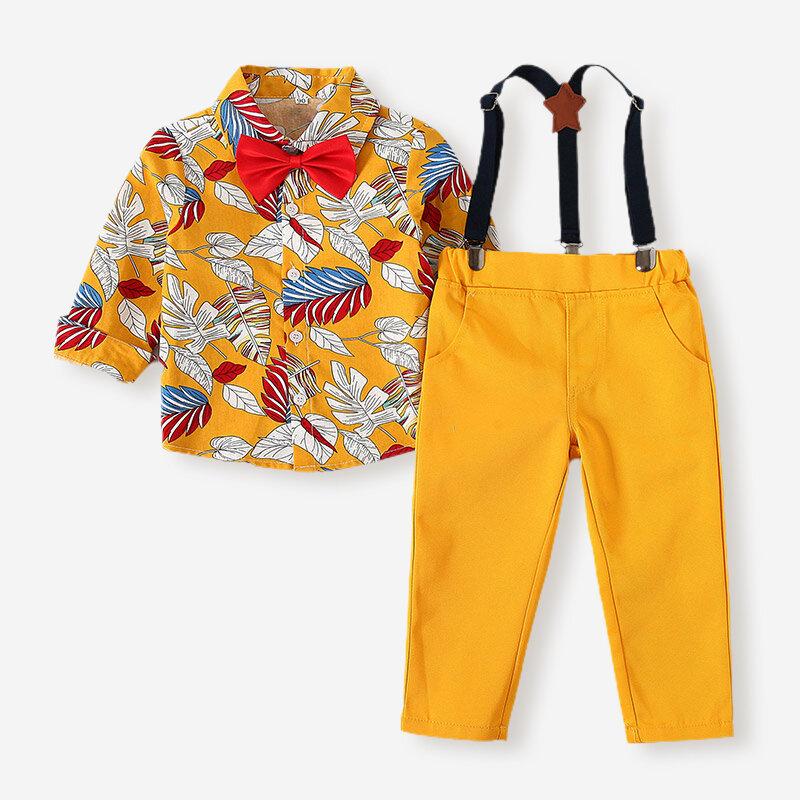 Boy's Leaves Print Bowtie Button Long Sleeves Shirt+Bib Pant for 1-8Y