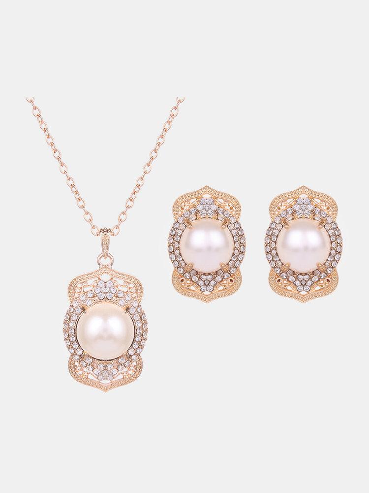 Elegant Jewelry Set Rhinestone Pearl Necklace Earrings Set