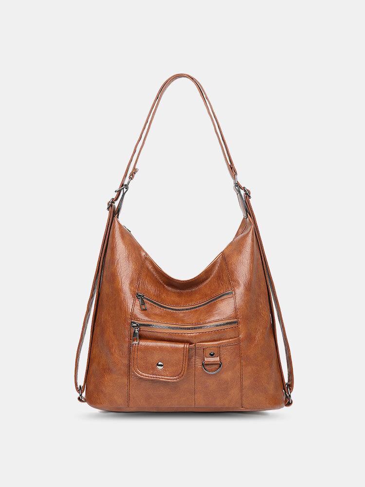 Damen PU Leder Große Kapazität Multi-Taschen Multi-Carry Schultertasche Rucksack
