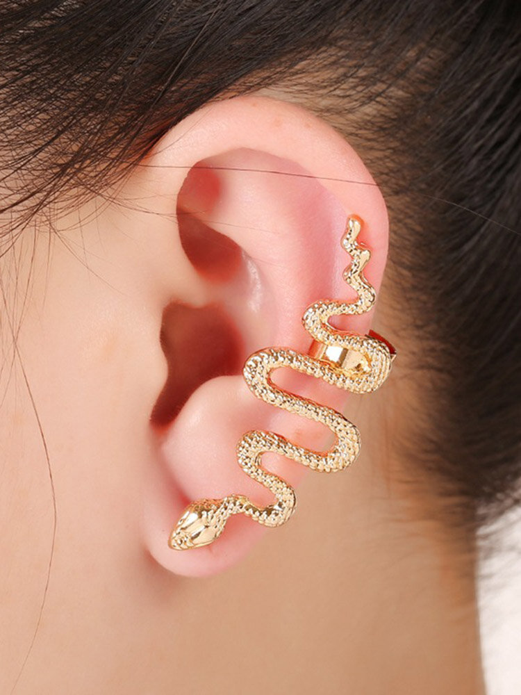 1 Pc Exaggerate Snake Cartilage Earrings Statement Zinc Alloy Silver Gold Cuff Earrings for Women