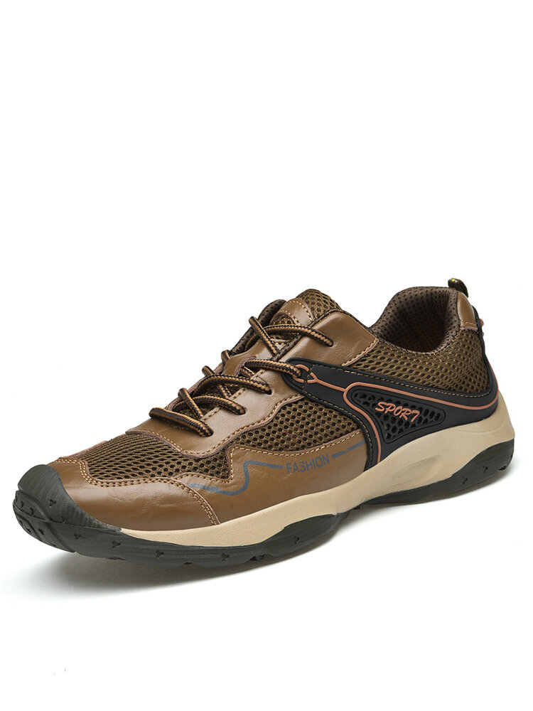 Men Breathable Mesh Lace-up Soft Hard Wearing Non Slip Outdoor Shoes