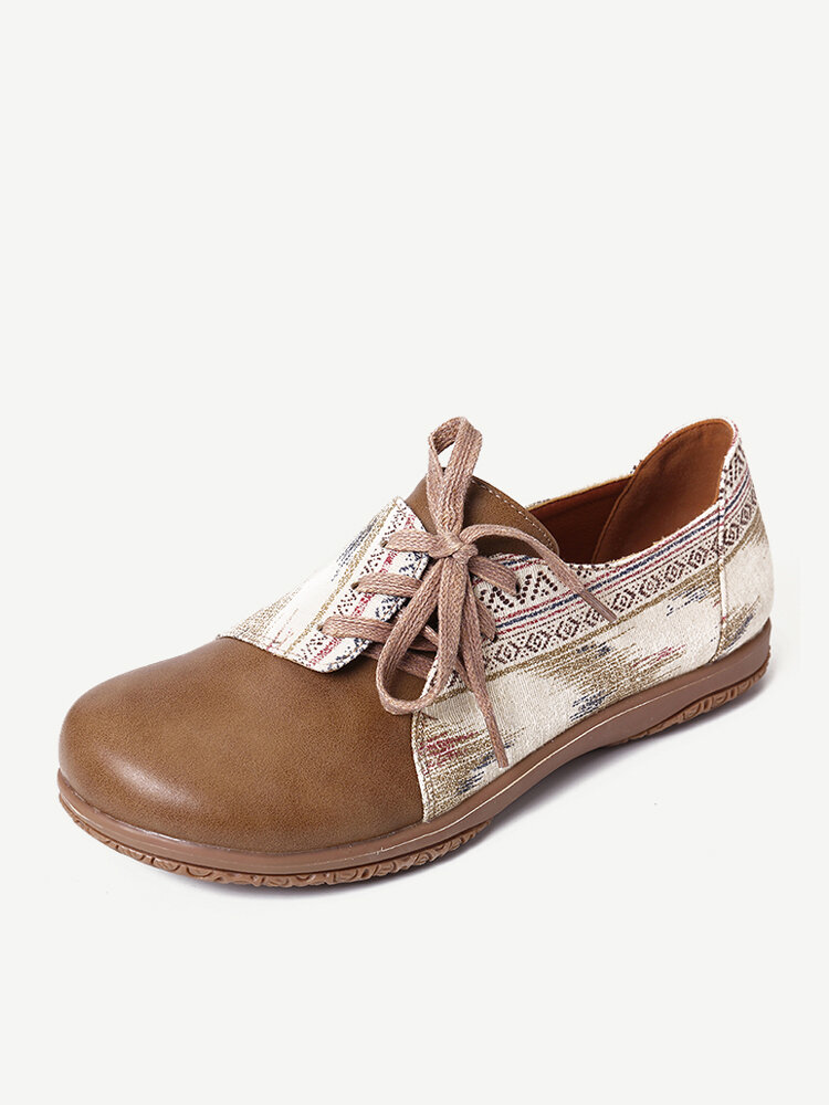 LOSTISY Bowknot Lace Up Printing Slip Resistant Casual Flat Shoes
