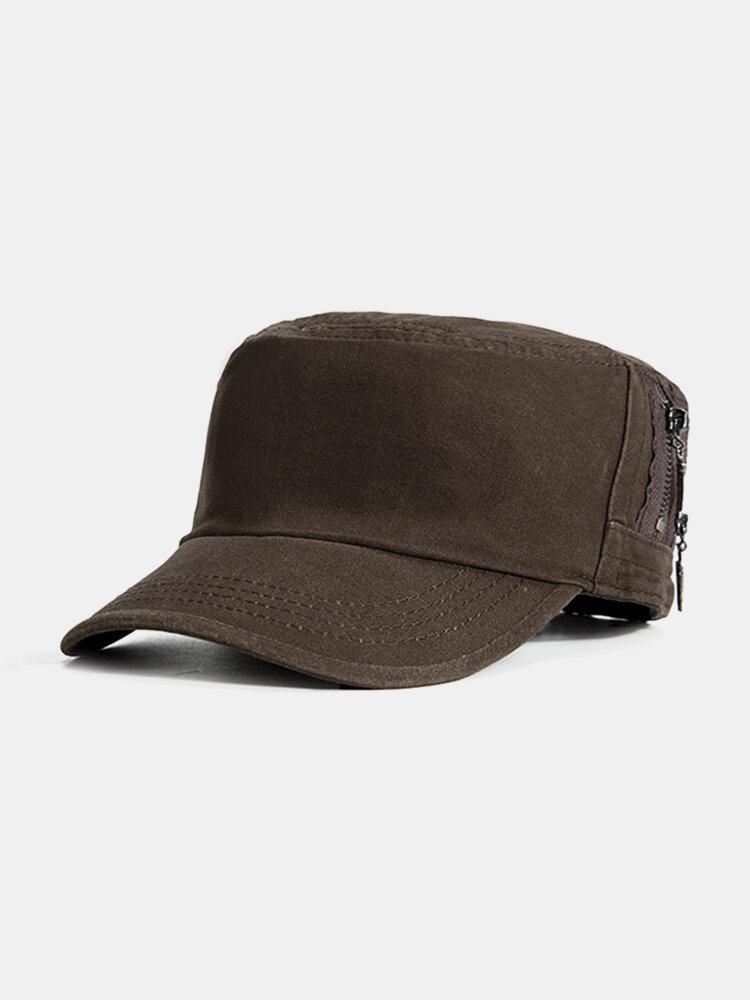 Men Simple Durable Cotton Military Hat Outdoor Travel Casual Anti-UV Flat Cap