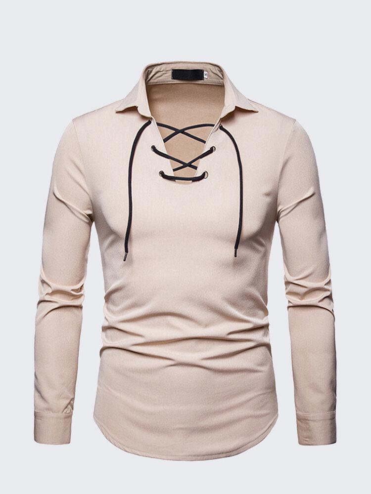 Mens Fashion Drawstring Solid Color Tees Turndown Collar Long Sleeve Casual Cotton T Shirts