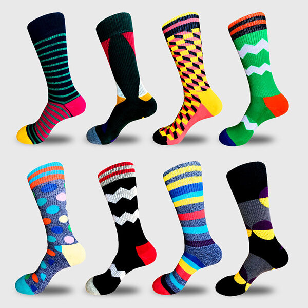 Mens_Funny_Socks_Cotton_Paragraph_Stripe_Geometric_Middle_Tube_Socks