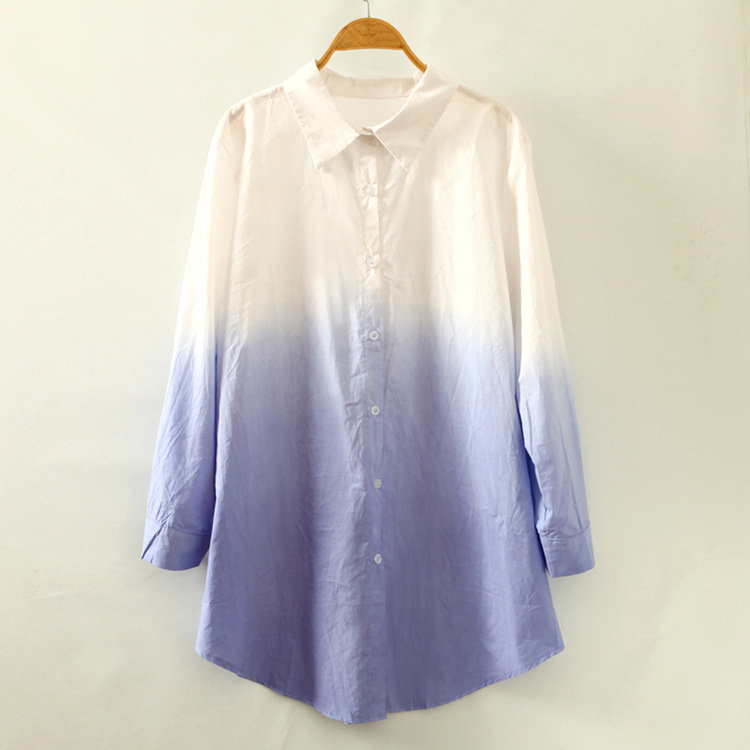 Gradient Color Loose casual long sleeve shirt