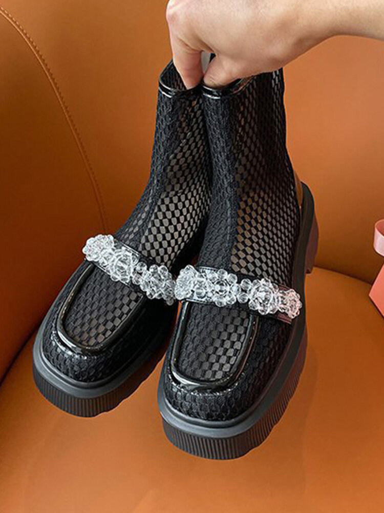 Women Fashion British Style Thin Mesh Splicing Leather Comfy Breathable Back Zipper Platform  Boots