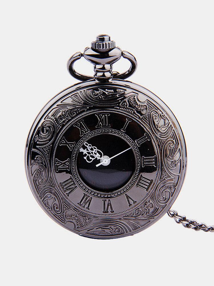 ヴィンテージブラックローマ数字番号チェーン付きデュアルディスプレイ懐中時計