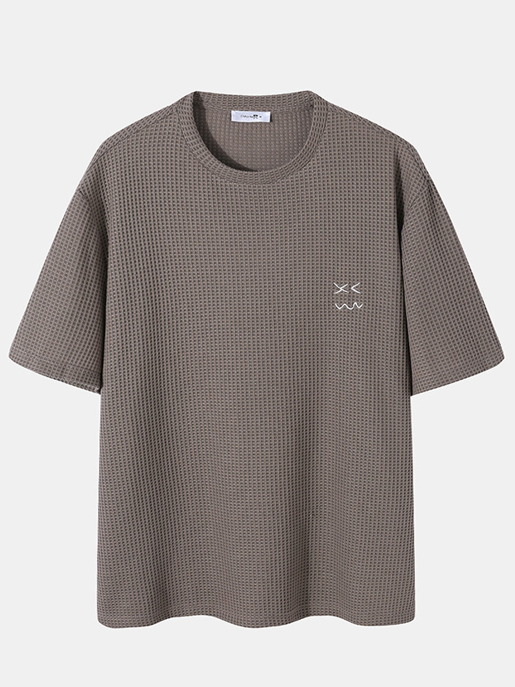 Plus Size Mens Casual Pattern Embroidery Short Sleeve Knitted T-Shirt