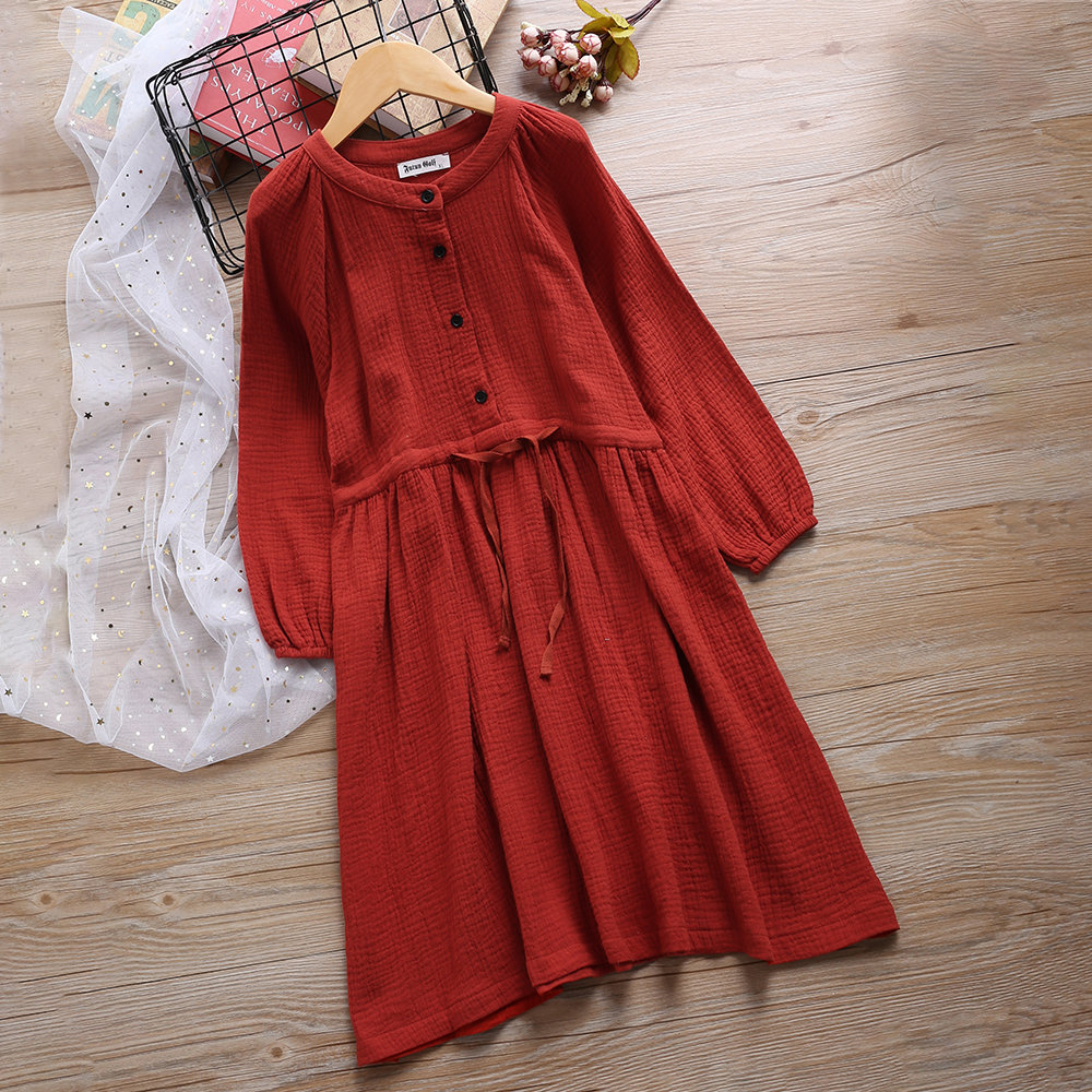 Pure Color Buttons Girls Long Sleeve Drawstring Dresses For 4Y-16Y